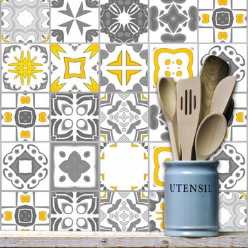 Adesivo Azulejo Cozinha 15x15 18un Cinza Vigo