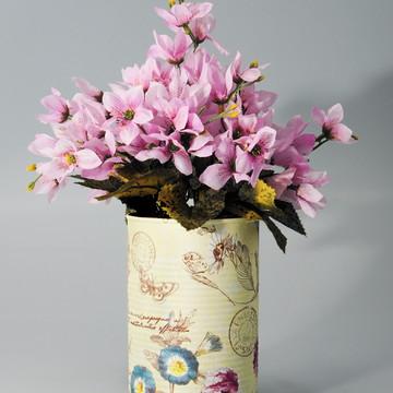 Lata Floral Vintage com Mini Lírios Artificiais