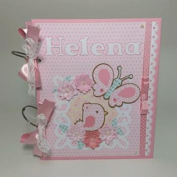 Álbum livro diário bebê personalizado borboletas