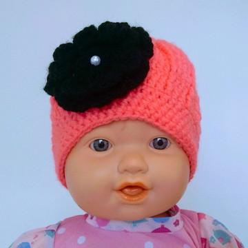 Gorrinho/ Touquinha Infantil (6 m a 2 anos) Feminino Crochê