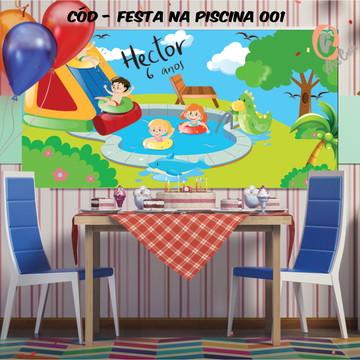 Painel festa decoração festa na piscina