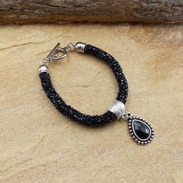 Pulseira preta strass swarovski bijuterias tendencia de moda