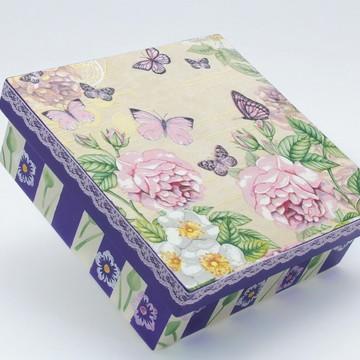 Caixa Quadrada em MDF (Rosas/Borboletas)