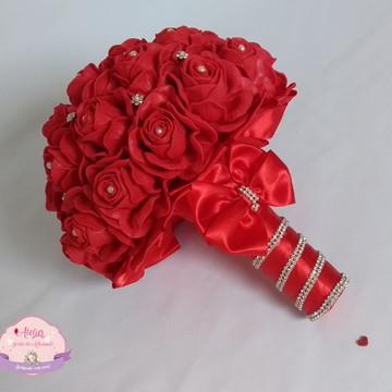 Buquê de noiva (M) Todo vermelho com Strass