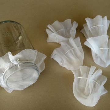 Kit 6 tampas voal potes de vidro para germinar semente