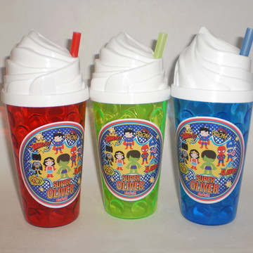 Copo Chantilly com Canudo 500ml Super Heroes Kids Cute
