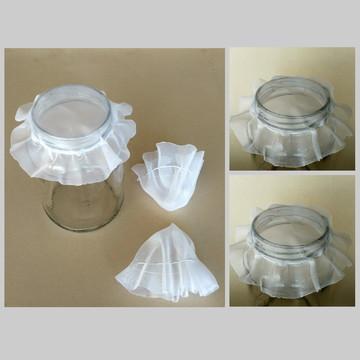 Kit 5 tampas de voal p/ potes de vidro para germinar semente