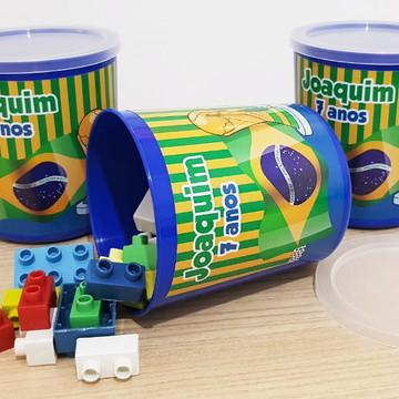 Pote com Peças para Montar Copa - Brasil (Tipo Lego)
