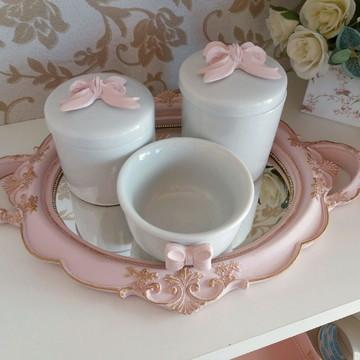 Kit higiene porcelana rosa