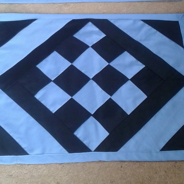 Tapete de retalho xadrez azul