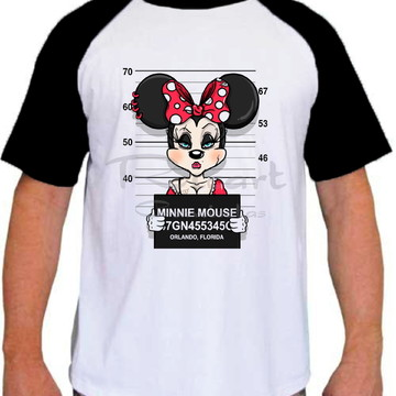 Camiseta Raglan Personagem Disney Minnie Prisioneira