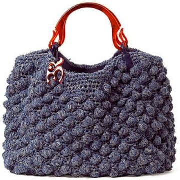 Bolsa Azul Croché Alça Couro