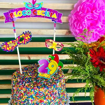 Topper de bolo aniversário carnaval - frete grátis