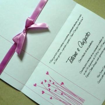 Convite de Casamento Rosa e Branco