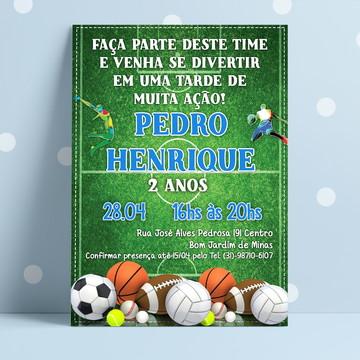 Convite Aniversário Tema Esportes