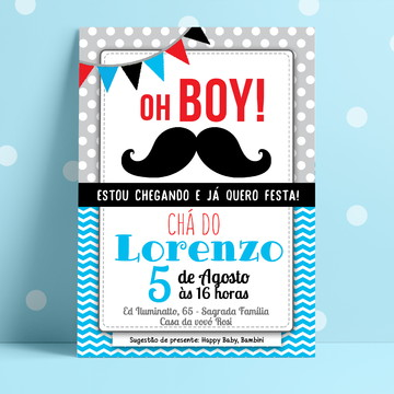 Convite Digital Cha de Bebe Moustache