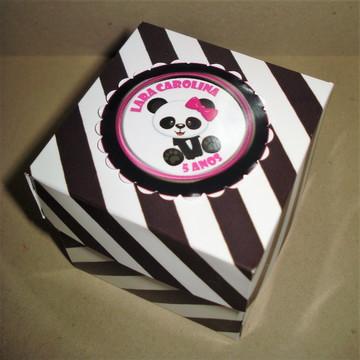 Caixa cubo 6X6 Ursinha Panda personalizada