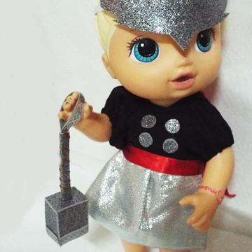 Fantasia da Thor Girl para Baby Alive