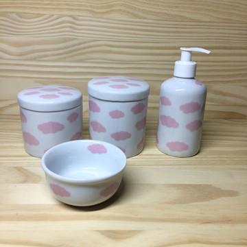 Kit Higiene Nuvem Rosa + Porta Gel