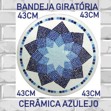 Bandeja Giratória 43cm de Diâmetro Mosaico Azulejo Rústico