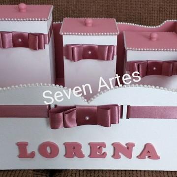 Bandeja 3 potes kit higiene Bebe Rosé Quarto Menina