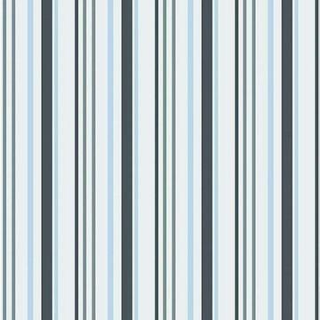 Papel de parede listrado azul, cinza e branco para sala