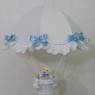 lustre infantil paraquedas pendente listrado azul c/ branco