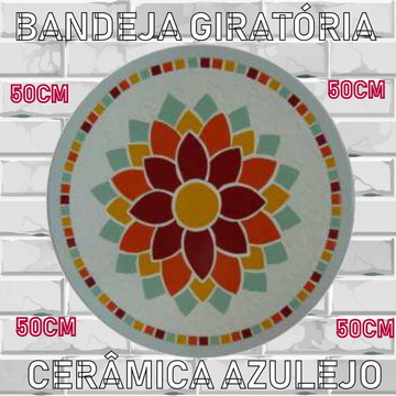 Bandeja Giratória 43cm de Diâm Mosaico Galinha de Angola