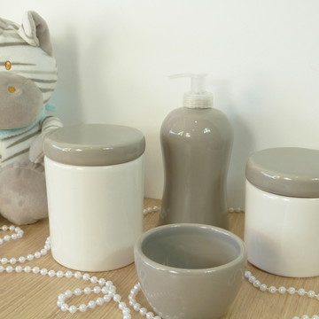 Kit Higiene Bebe Porcelana Cinza