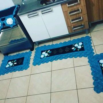 Kit de cozinha em crochê - tapete passadeira