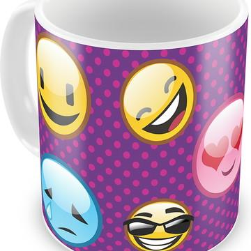 Caneca de Plástico Emojis Emoticons