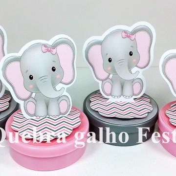 Latinha Elefantinho Rosa Lembrancinhas 3D em pé