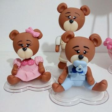 Aplique urso em biscuit