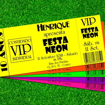 Convite Festa Neon Balada Várias Cores 17x7cm