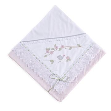 Manta para bebê em Malha Passarinhos Rosa Manta Passaro rosa