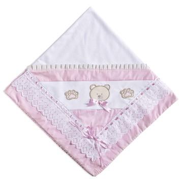 Manta para bebê em Malha Ursinha Rosa Poa Manta Ursa rosa