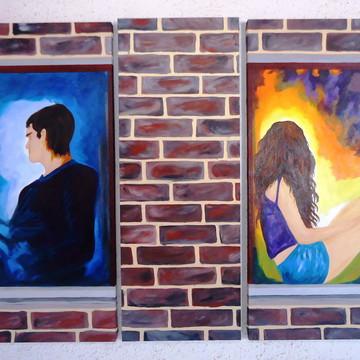 Quadro painel de 3 quadros - Um muro entre nos