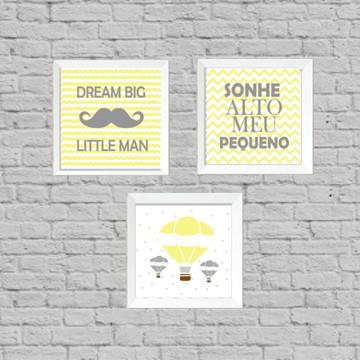 Kit quadros infantil dream little man