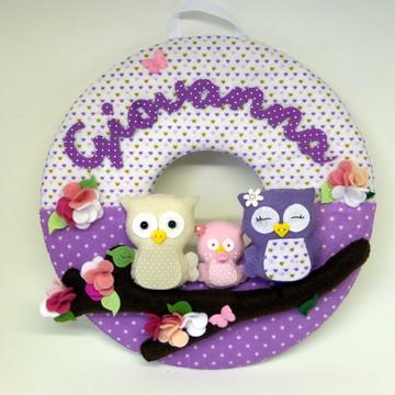 Guirlanda Enfeite Porta Maternidade Corujas