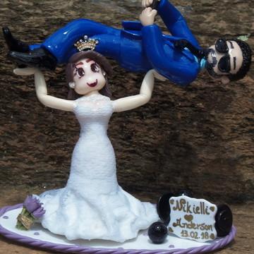 Topo de Bolo Casamento em Biscuit Personalizado