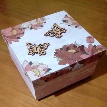 Caixa MDF Decorada - Flor 03 - pátina