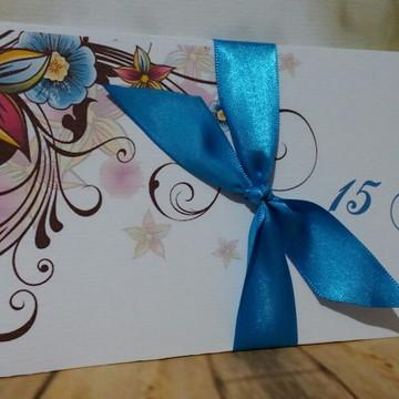 Convite 15 anos Floral Marrom com azul