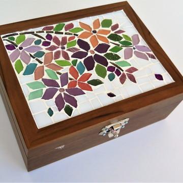 Caixa Porta Jóias em Mosaico floral