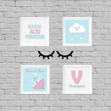 Kit quadro infantil chuva de amor + par cilios mdf