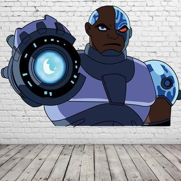 painel de festa cyborg titans