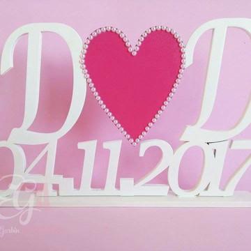 Letreiro MDF Casamento Iniciais e Data