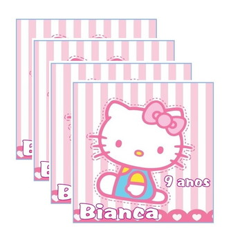 30 Rótulo Adesivo Hello Kitty 4 cm