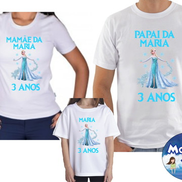 Kit Camisetas Frozen Aniversario com 3