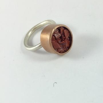 Aliança Pedra Bruta - grande - joia de cobre e prata