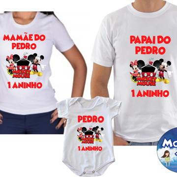 Kit Camiseta Aniversario Mickey com 3und